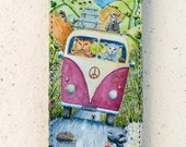 iphone 4, 5 or 6 case - flip case - Cats  - VW -  Camper Van - Holiday - cover - illustration  - Samsung Galaxy S3 S4 S3mini S4mini S5