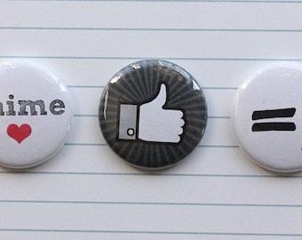 "3 badges 1 ""I love"