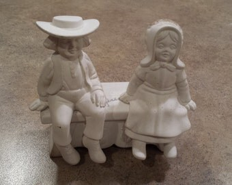 3 Piece Amish Couple and Bench