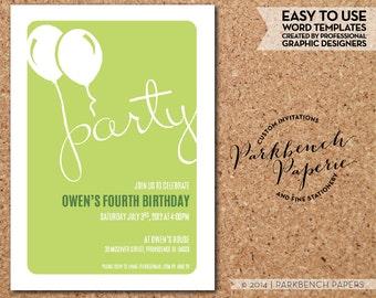 Birthday Invitation - Block Balloons - lime  DIY Birthday Invitation, Digital invitation template