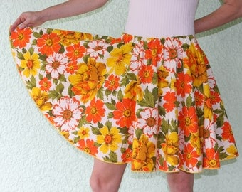 Vintage Tablecloth Circle Skirt Short - SATURATED Orange & SUNNY yellow FLOWERS