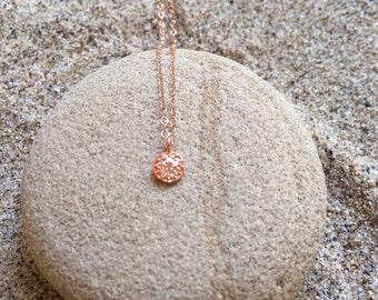 Pave Diamond Rose Gold sm Circle Pendant