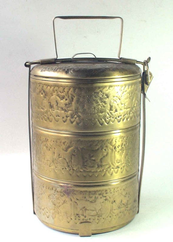 Antique thai food carrier tiffin carrier brass buddhism for Antique thai cuisine