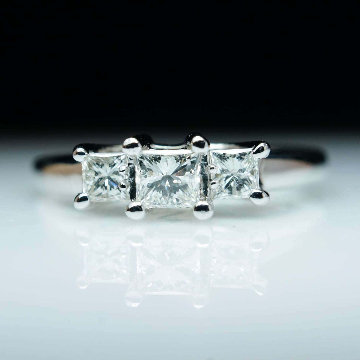 SALE – Vintage .60 Carat Princess Cut Three Stone Engagement Ring ...