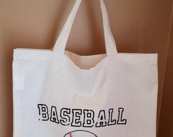 Baseball Mom Ivory Cotton Tote