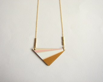 Triangle Necklace, Wood Geometric Necklace, Hand Painted  Wood Necklace,Geometric Jewelry
