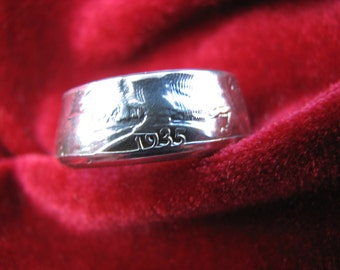 COIN RING made from a 1935 Walking Liberty Half Dollar, A NEW unsized Mens / Mans ring 81 year old American 90% silver coin