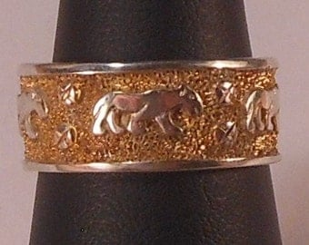 Sterling Silver Lion Ring with Gold Plating