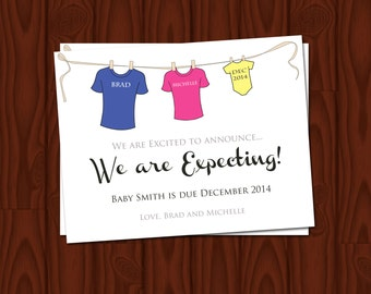 Pregnancy Announcement Clothesline Personalized (4 Count with Envelopes)