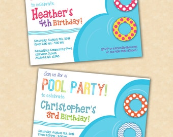Pool Party Birthday Invitations - Bright Colors { Boy or GIrl } - 8 Invitations and Envelopes