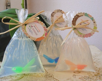 10 Fish In A Bag Soap Favors, Childrens Party favors,  children's stocking stuffer, Teen Party Favor, Baby Shower Favor, Bridal Shower Favor