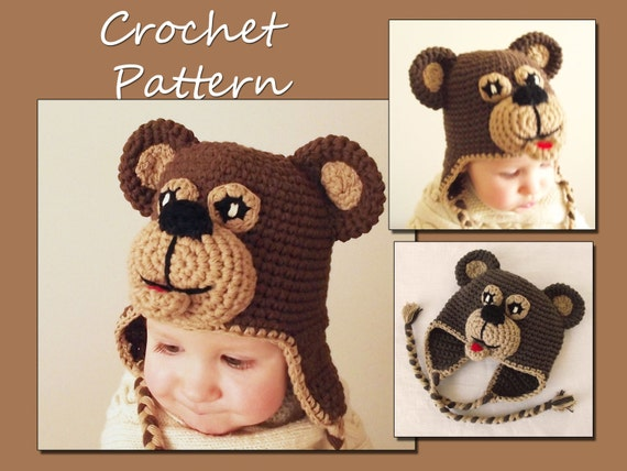 CROCHET PATTERN - Earflap Bear Hat Crochet Pattern, Baby Winter Hat, Beanie, CP-301