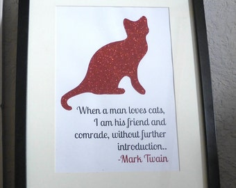 Mark Twain Glitter Cat Quote, A3/A4 Print, Gift Idea for Cat Lovers