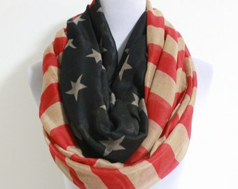 Vintage American Flag Infinity Scarf, American Flag Scarf, Fourth Of July, July 4th, Independence Day, Star Bangled Banner, US Flag Scarf
