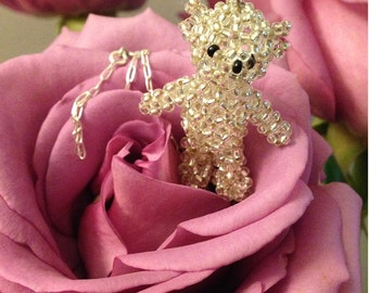 Silver beaded bear pendant with 925 sterling silver necklace