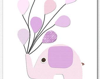 Purple and light pink elephant nursery art Print, 8x10, nursery wall art, Kids Room Decor,  elephant,  pink, lilac, lavender