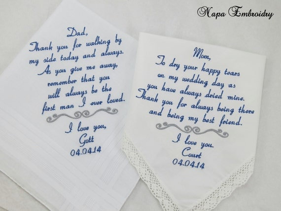 Wedding Gifts For Dad From Bride : Wedding Gifts for Mom Dad of the Bride Embroidered Handkerchiefs ...