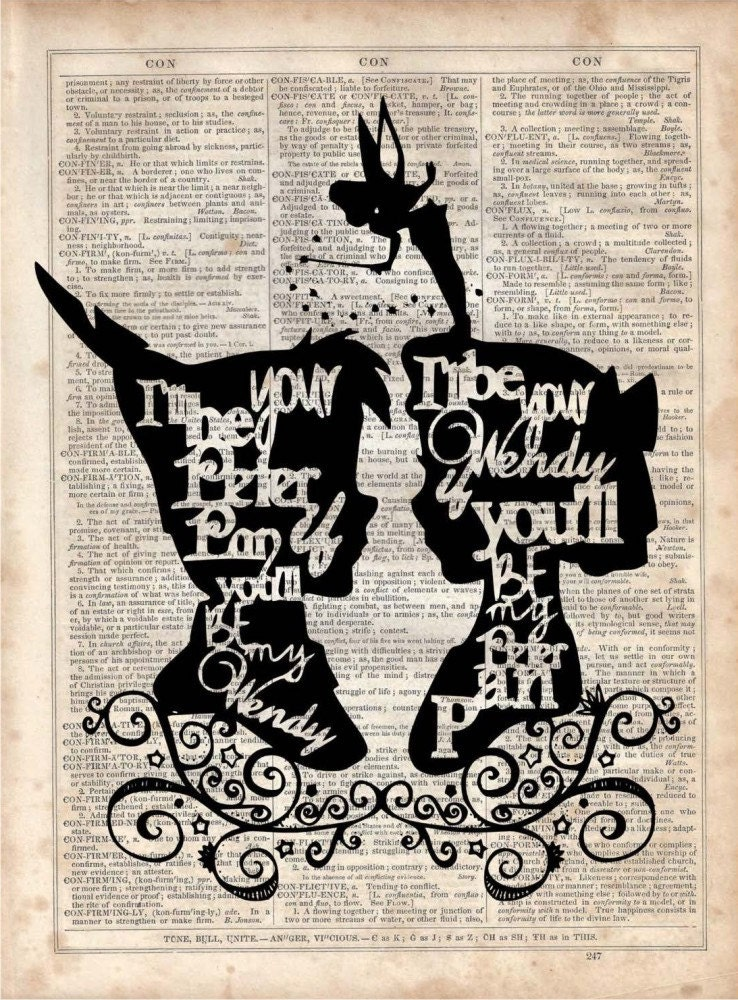 I Ll Be Your Peter Pan Dictionary Art Print Vintage