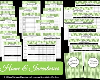 GREEN - EDITABLE Home & Inventories Kit - Chevron Printable - PDF - Printable Planner - Car Maintenance -Pantry-Binder Cover and Spine