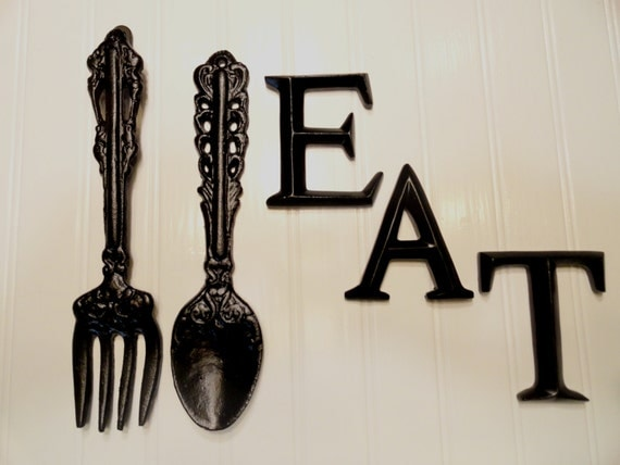 Kitchen wall decor black large fork spoon eat word sign for Kitchen letters decoration