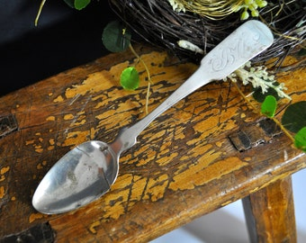 Coin Silver Sterling Spoon, Antique Sterling Silver, Vintage coin silver spoon, as is condition #967