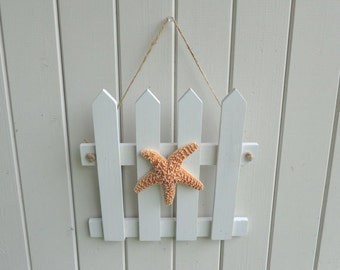 Starfish Wall hanging white picket fence beach party wedding porch decoration