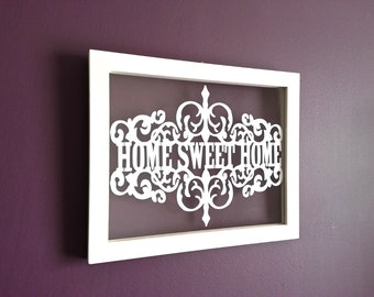 Home sweet home floating frame papercut
