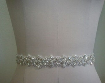 SALE - Wedding Belt, Bridal Belt, Sash Belt, Crystal Rhinestone Sash - Style B70014