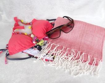 Candy Pink Peshtemal, Linen Peshtemal, Turkish PESHTEMAL, Spa,Bath,Beach,,Yoga,Pool,Fitness Towel