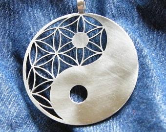 Symbol of Yin Yang pendant (1 3/8) - Stainless Steel
