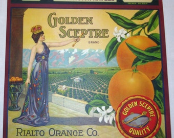 GOLDEN SCEPTRE  Washington  Navels Crate Label circa 1930's