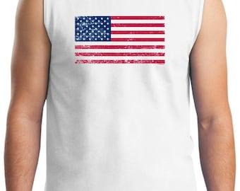 Tattered American Flag Sleeveless  T-Shirt 2700  - US-107