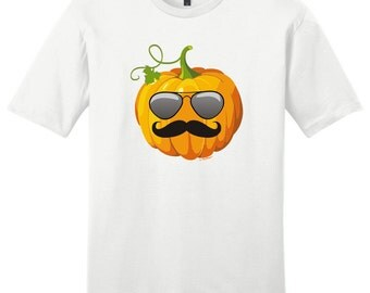 Aviators and Mustache Jack O'Lantern Halloween Young Men's T-Shirt DT6000 - HW-129