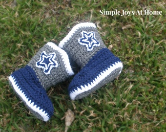 Dallas Cowboys Baby Cowboy boots // Crocheted Cowboy Boots // Baby Shower Gift // Cowboys Fan Gift // Dallas Cowboys Boots // Made to Order