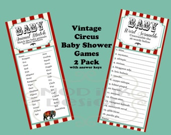Instant Download Vintage Circus Baby Shower Games 2 Pack