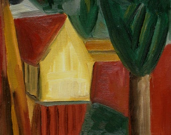 After Picasso's House in a Garden of 1908, OOAK, Original Oil Painting