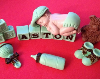 Fondant edible baby boy with letters blocks cake topper for Baby Shower, Birthday