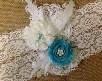 Garter- Bridal Wedding Garter- Ivory & Teal Garter Set- Rustic Garter