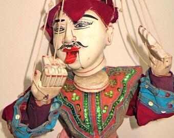 Vintage /Old Wooden Asian Burmese Marionette / String Puppet