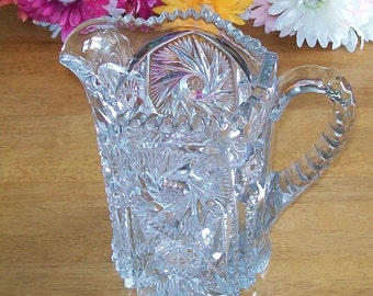 Beautiful Pressed Glass Pin Wheel - Buzz Saw Pattern Pitcher