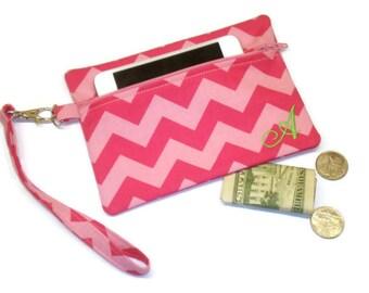 Personalized wristlet, pink chevron wristlet, personalized clutch, monogrammed clutch, monogram wristlet, pink chevron purse, chevron wallet