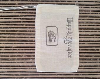 Wedding Muslin Favor Bag Happily Ever After Gift Bag Stamped Set of 10