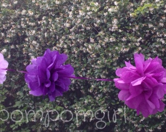 TISSUE PAPER GARLAND-Purple / birthday decor / wedding decorations / bridal shower / nursery decor / tissue poms / paper garland / pompoms