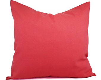 Two Solid Coral Throw Pillow Covers - Coral Couch Pillow Covers - Pillow Covers - Salmon Toss Pillow - Decorative Pillow - Solid Pink Pillow