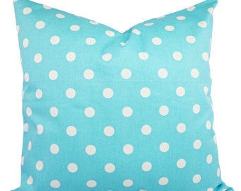 Polka Dot Pillows - Two Decorative Pillow Covers Teal and White Polka Dots - Aqua Throw Pillow Cover Accent Pillow
