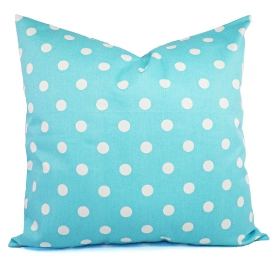 Polka Dot Pillows Two Decorative Pillow Covers Teal and