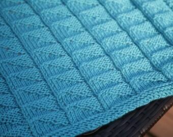 Blue Light Catcher Textured Reversible Blanket   baby blanket, afghan KNITTIN...