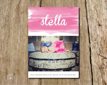 Watercolor Baby Announcement - customize in your nursery color - shown in peony