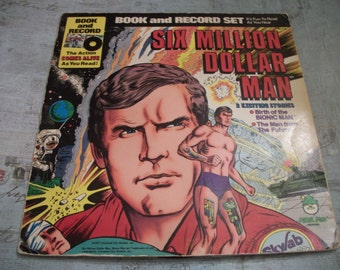 Vintage 1977 Six Million Dollar Man Book and Record Set - 2 Exciting Stories! 33 1/3 RPM