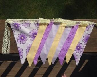 Lilac and lemon bunting